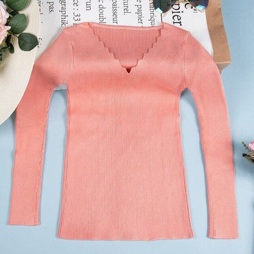 Women Unique Design Wave Collar Pullover Elasticity Slim Jumpers