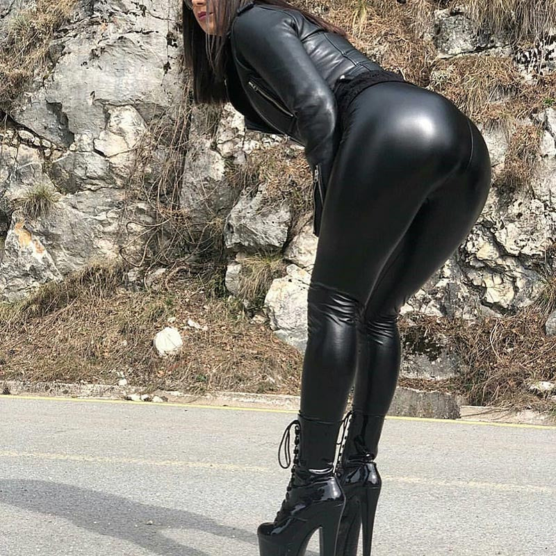 Women High Waist Skinny Push Up Sexy Elastic Leather Leggings