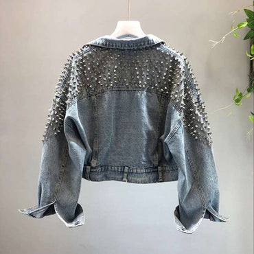 Fashion new bat sleeve heavy work rivet short washed denim jacket female jacket