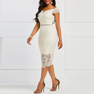 Bodycon Women Dress Lace Slash Neck Hollow Backless Sexy Elegant