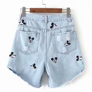 Alwayss High Waist Ripped Disney Mickey Mouse Embroidery jean shorts for women
