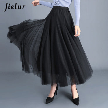 Three Layers Princess Tulle Skirts Vintage Solid Color Mesh Women Skirt