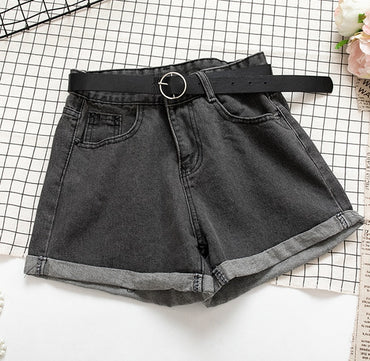 Women Denim Shorts Crimping High Waist Slim