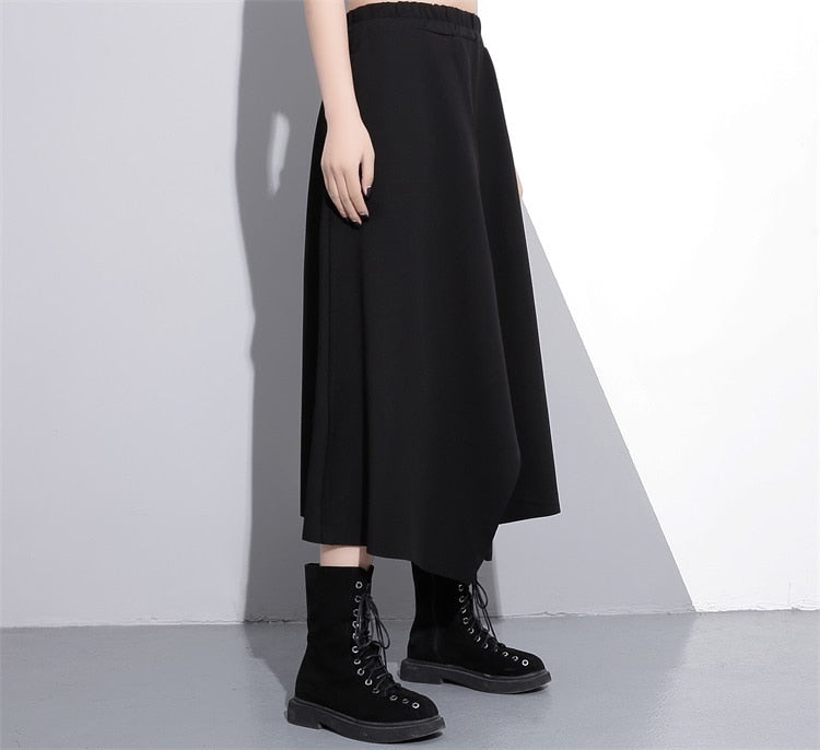 2020 New Spring High Elastic Waist Black Irregular Hem Vent Loose Big Hem Half-body Skirt