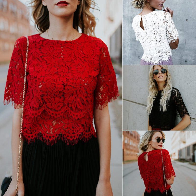 Red Loose Blouse Women Short Sleeve Tops Shirt Casual