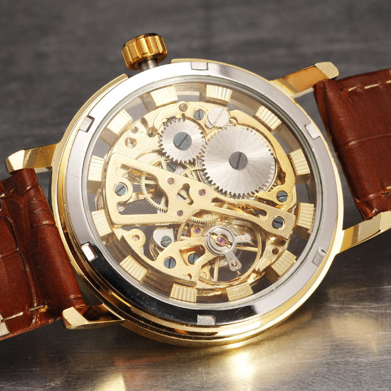 Luxury Hand Wind Skeleton Watches Vintage Style