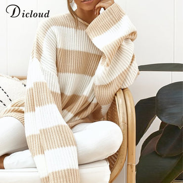 Casual Oversized Striped Sweater Women Autumn Batwing Long Sleeve