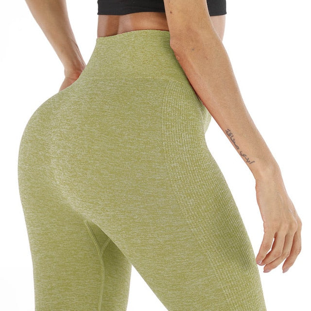 Women's Fashion Seamless Leggings Athleisure Sportswear High Waist Solid Fitness Leggings