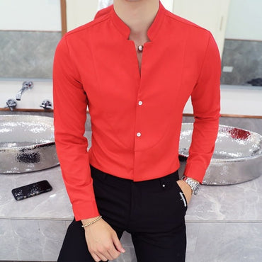 Mandarin Collar Shirt Men New Autumn Solid Men Shirt Long Sleeve
