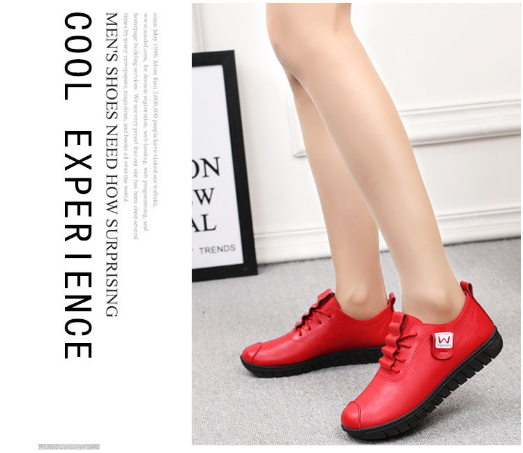 Women shoes new arrival lace-up pleated genuine leather flats shoes