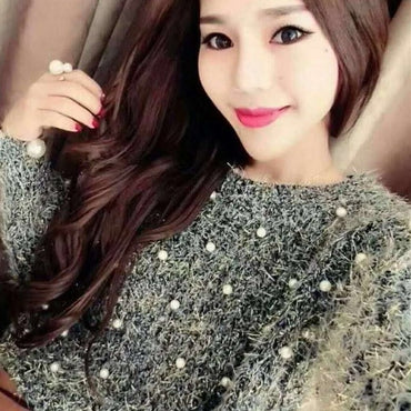 Pearl Beading O Neck Sweater Sweet Women Pullovers Knit Jumper Long Sleeve Casual