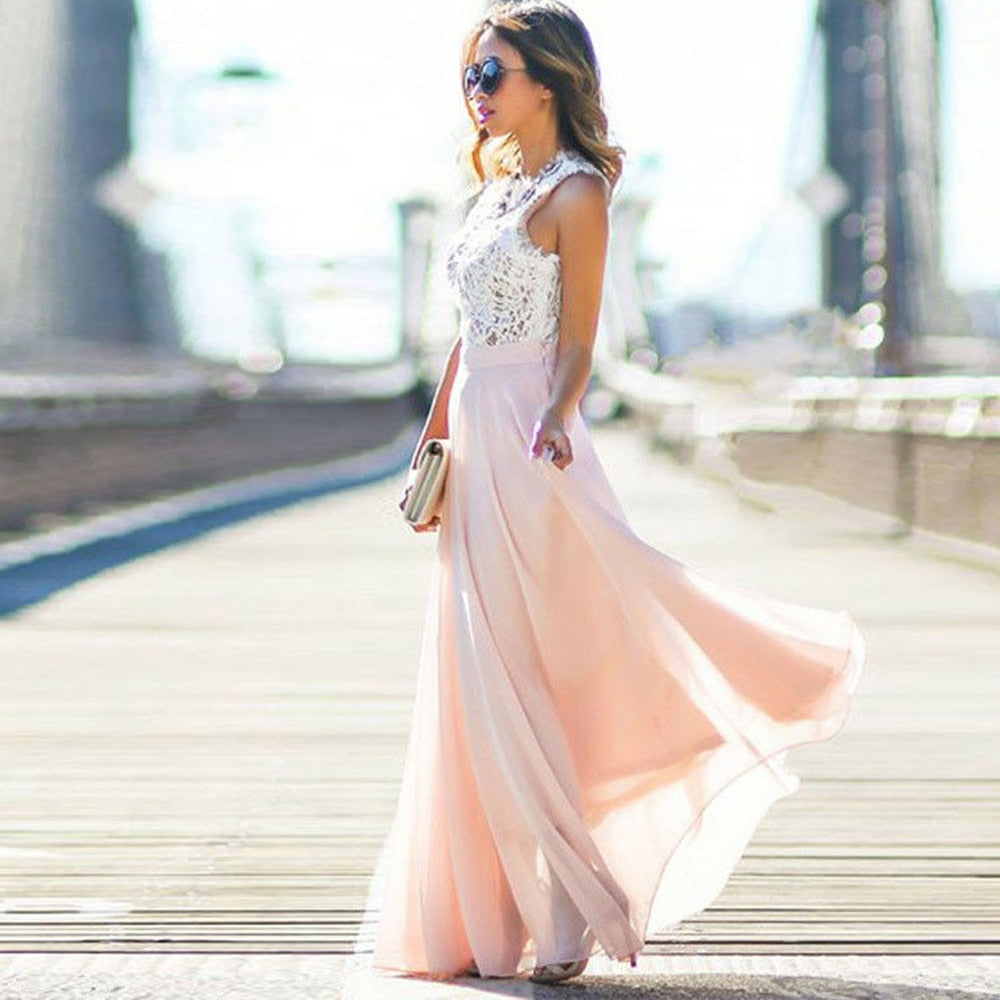 Women SexyParty Dress Nude Pink Boho Maxi Long Hollow Out Patchwork
