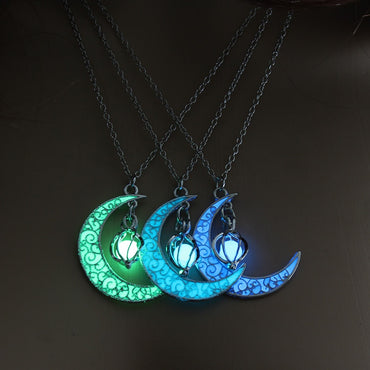 Moon Glowing Necklace Gem Charm Silver Plated Hollow Luminous Stone Necklace