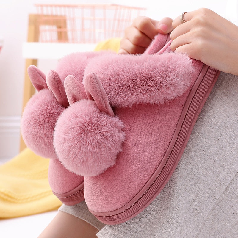 Women Home Slippers Rabbit Ears Slip On Soft Soled Winter Warm House Shoes