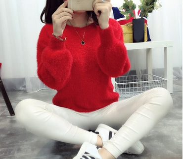 Women Candy Colors Sweaters Fashion Autumn Winter Warm