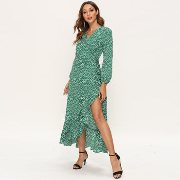 Bohemian Floral Print Ruffle Long Sleeve  Sexy Side Split V Neck Maxi Dress