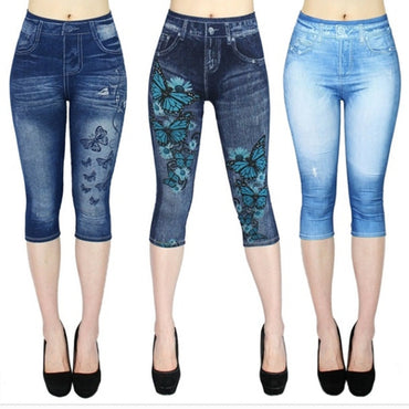 New Fashion Women's Capri Leggings Imitation Jeans