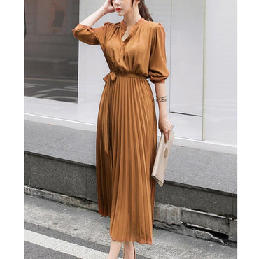 Autumn Pleated Sexy Bodycon Dress Vintage Chiffon Long Sleeve Party Dress
