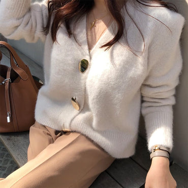 Golden Shiny Button Single Breasted Woolen Women Cardigans Sweater
