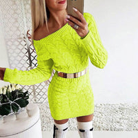 Women Sweater Dress Knitted Sexy Off Shoulder
