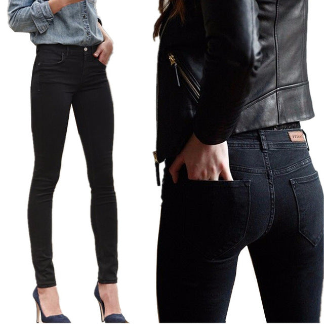 Bazaleas Women Jeans Stretch Skinny Pencil Pants Black Casual Denim