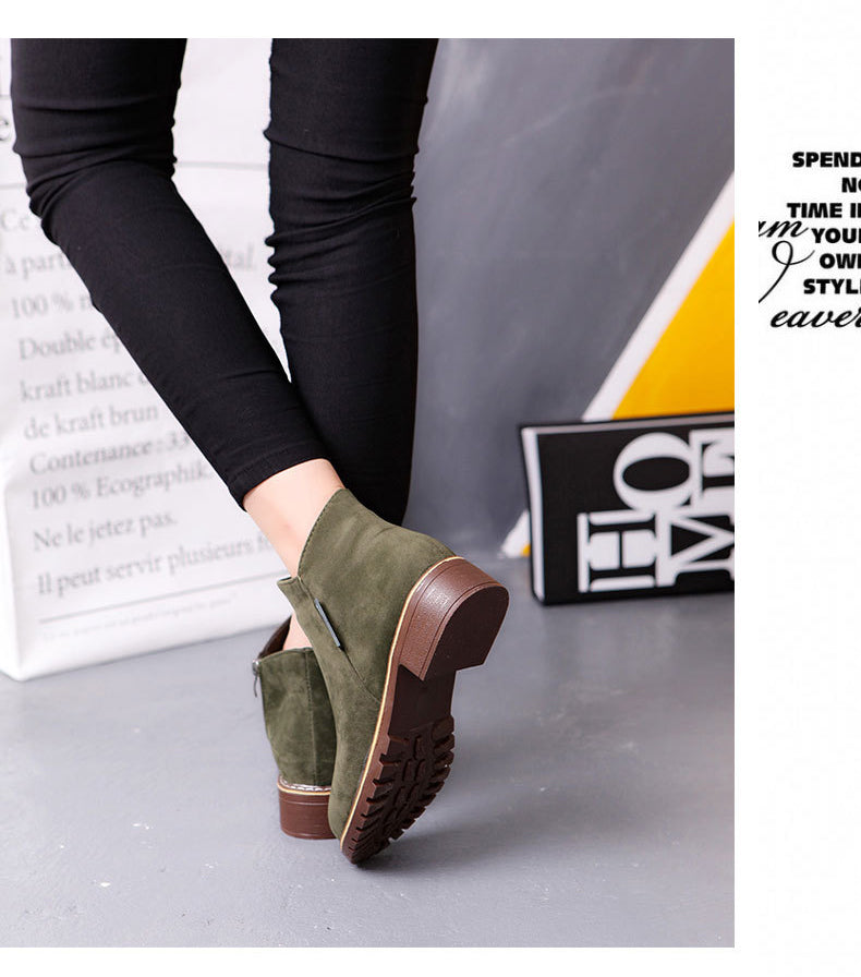 Women Boots Top Fashion Brand Ladies Suede Leather Ankle Boots