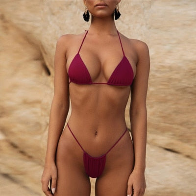 Swimwear Ms. Bandage Bikini Sexy Off-Shoulder Swimming Thong Swimsuit