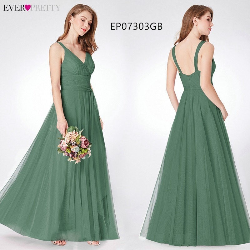 Prom Long Elegant Dress V-neck Sleeveless A-line Tulle Teal Prom Dress