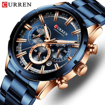 Men Watch Top Brand Luxury Sports QuartzFull Steel Waterproof Chronograph Wristwatch