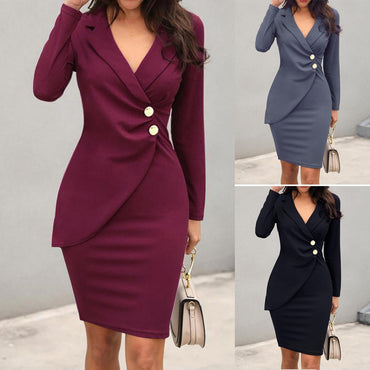 Autumn Dress Women Sexy Solid Turn Down Neck Long Sleeve Buttons Bodycon Dress