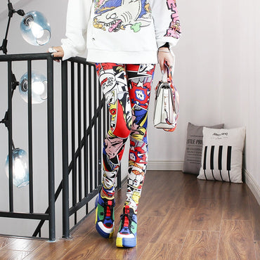 Women Leggings High Waist Cartoon Comic Beauty Print Trousers Soft