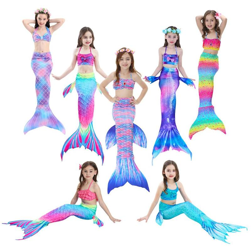 3PCS/Set HOT Kids Girls Bikini Set Mermaid Tails with Fin Swimsuit Bikini Bathing Suit Dress