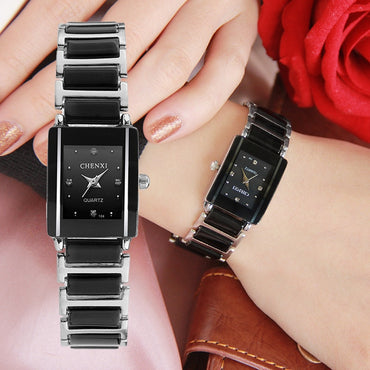 Brand Lady Watch Elegant Black Ceramics Simple Minimalism Small Narrow Quartz Casual