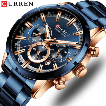 New Fashion Mens Watches with Stainless Steel Top Brand Luxury Sports Chronograph Quartz Watch