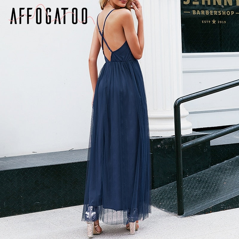 Sexy deep v neck backless  elegant lace evening maxi dress