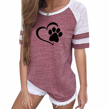 Fashion Love Dog Paw Print Top Shirt Women Raglan T-shirt