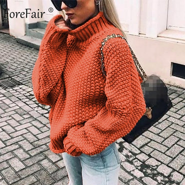 Women Turtleneck Knitted Sweater Winter Knitwear Warm Casual Style