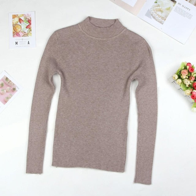 Women Turtleneck Sweater Knitted Slim  Casual Jumper