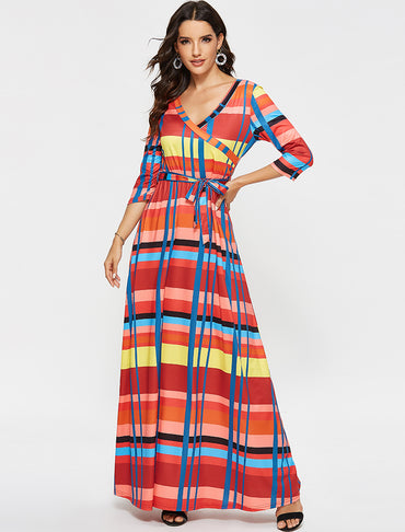 Casual Sexy V Neck Fashion Striped Print Bandage Half Sleeve Tunic Dress