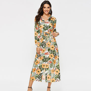 Elegant Floral Print Long Sleeve Turn Down Collar Casual Dress