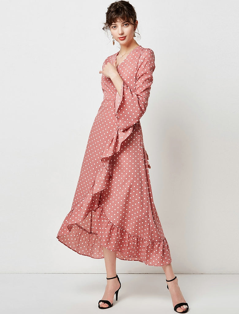 Polka Dot Ruffle Elegant V Neck Flare Long Sleeve Split Maxi Dress