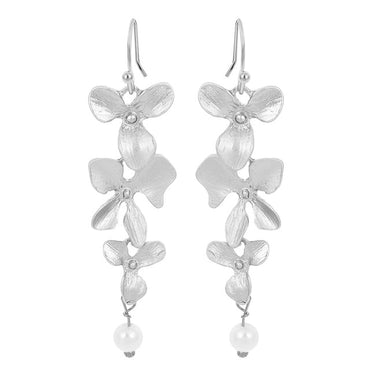 Statement Orchid Flower and Pearl Drop earrings in silver Earring for Women