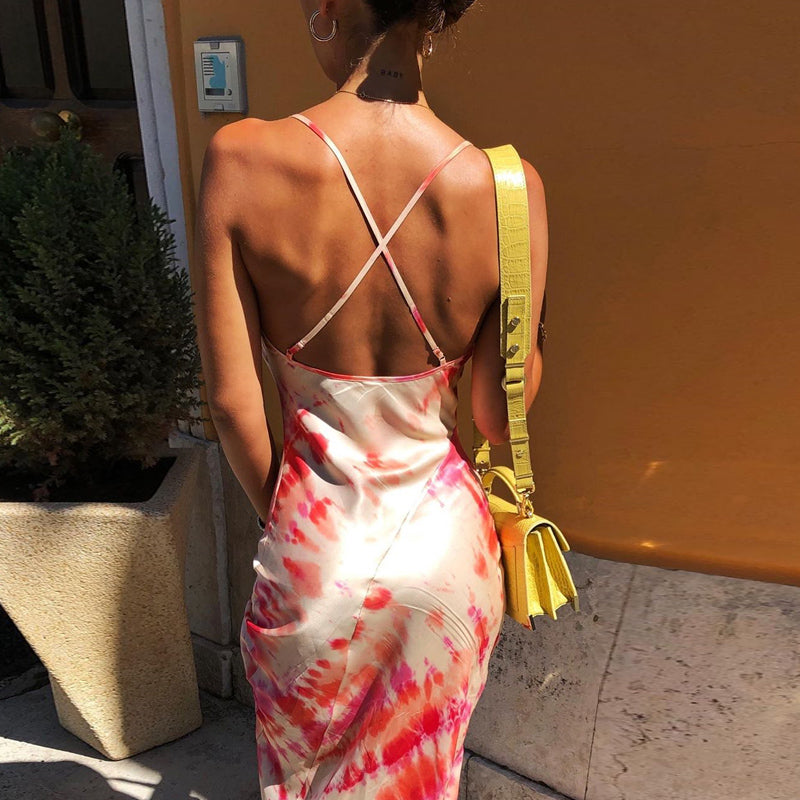 Neon satin lace up women bodycon long midi dress