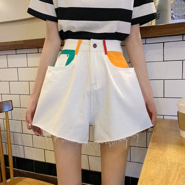 Retro High Waist Color-Hit Women Streetwear New Denim Shorts