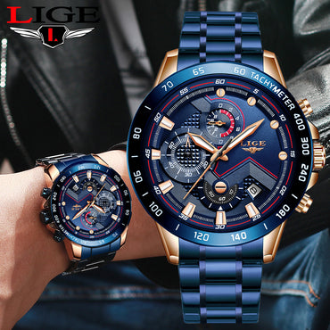 Business Men Watch Luxury Brand Stainless Steel Wrist Watch Chronograph Quartz Watches
