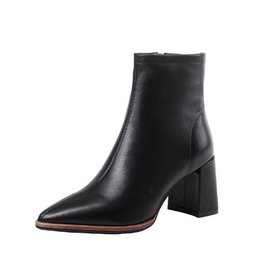 Sheepskin Boots Women Ankle Booties Pointed Toe Fashion Shoes Female