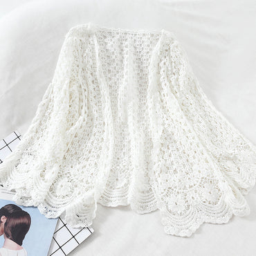 Open Lace Cardigan Crocheted Hollow Out Shrug Female Casual Women Sweater