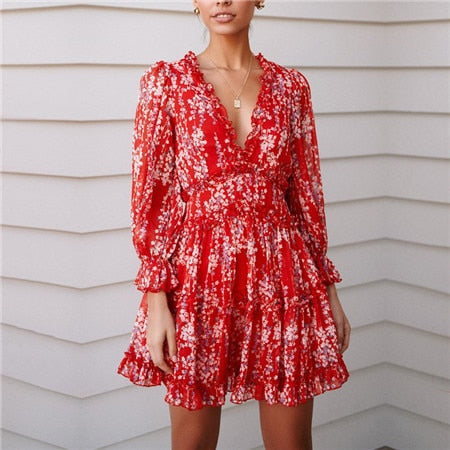 Sexy Back Cut Out Floral Ruffle Dress