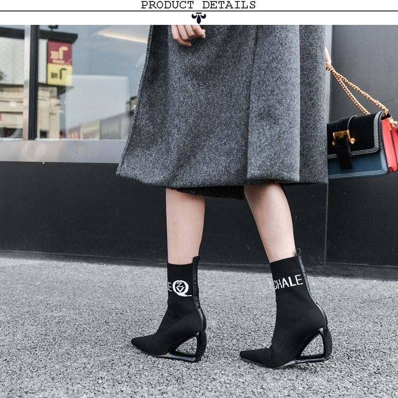 Woman booties knitting wool stretch boots autumn winter cute