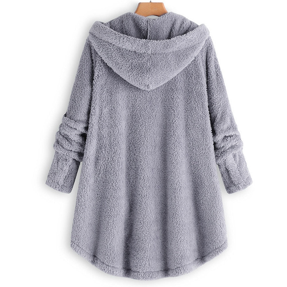 Women Winter Coat Button Fluffy Tail Tops Hooded Pullover Loose Warm Outerwear